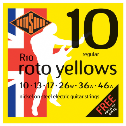 Rotosound R10 Roto Yellow 10-46 Nickel Electric Guitar Strings
